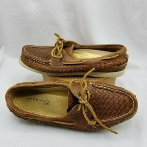 SPERRY TOP SIDER Boat Brown Woven Leather 2-eye 9M